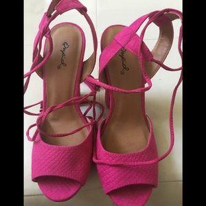 Qupid Fuchsia Pink Wrap Heel Sandals